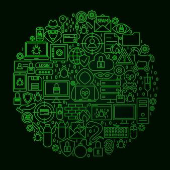 Hacker line circle konzept. vektor-illustration von cyber-kriminalität-objekten über schwarz.