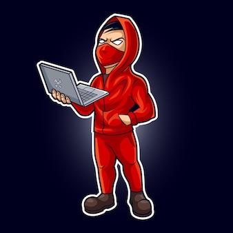 Hacker-maskottchen-vektor-illustration