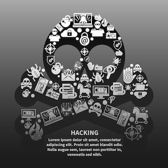 Hacker-schädel mit textvorlage