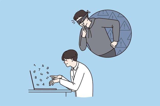 Hacker spionieren männlichen büroangestellten mit computer aus