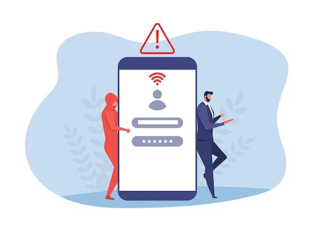 Hacker stehlen daten und persönliche informationen konzeptvektor