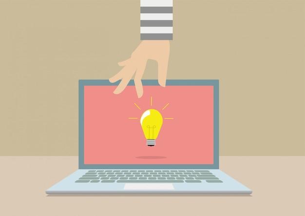 Hacker stehlen ideen von computer-laptop.