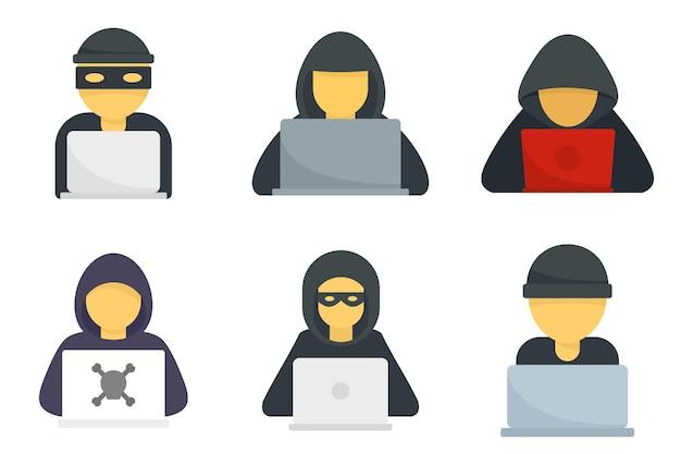 Hacker-symbole gesetzt. flache reihe von hacker-vektorsymbolen isoliert auf weißem hintergrund