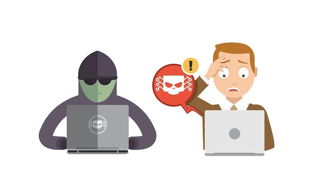 Hacker versuchen, daten und passwort auf dem computer eines mannes zu stehlen