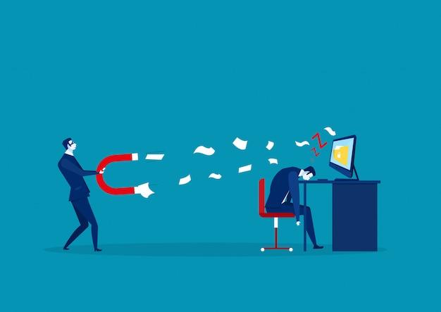 Hackerangriff zu den daten mit magneten während geschäftsmann, der im büro, verbrechenkonzeptvektor schläft
