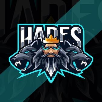 Hades mit cerberus maskottchen logo esport template design