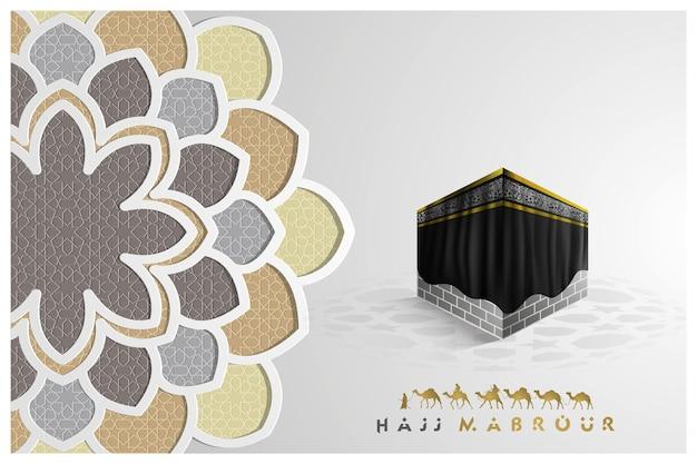 Hadsch mabrour gruß islamisches blumenmuster mit arabischer kalligraphie