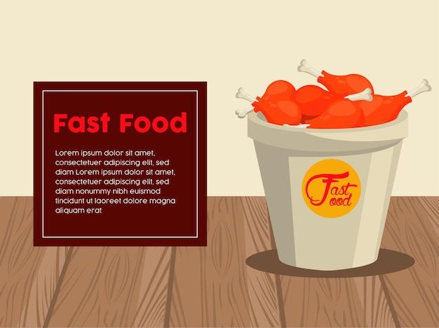 Hähnchenschenkel im topf mit fast-food-schriftzug und quadratischem rahmen