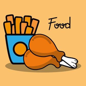 Hähnchenschenkel und pommes french food