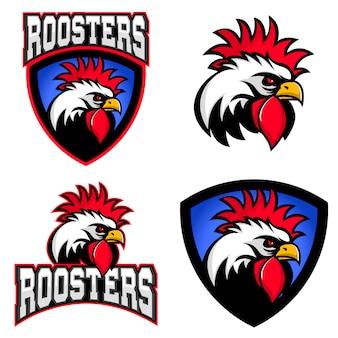 Hähne, sport team logo und emblem vorlage.
