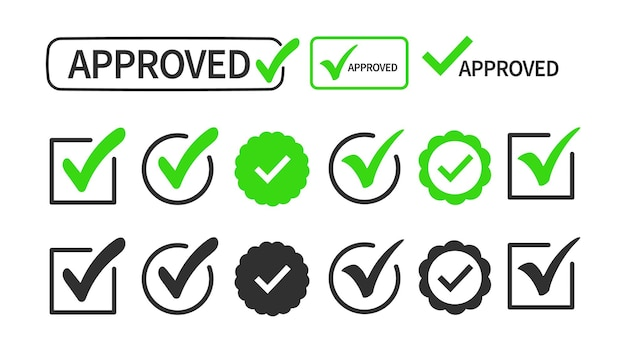Häkchen- oder häkchensammelsatz isoliert auf weißem hintergrund. zeichen - genehmigung, auswahl, auswahl, annahme, richtig, richtig, positive antwort, wahre option.