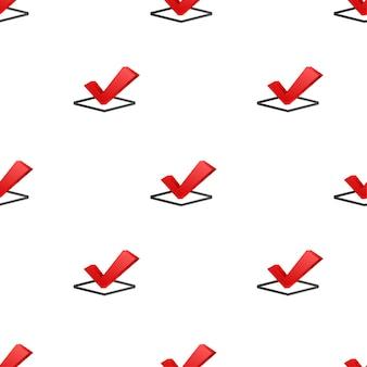 Häkchen. rot genehmigtes muster auf weißem hintergrund. vektorgrafik auf lager.