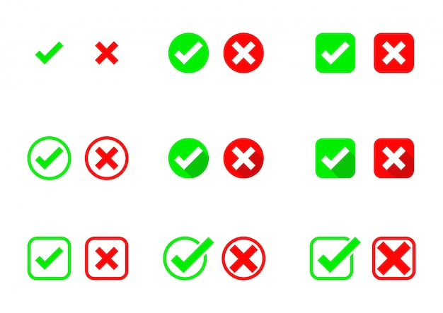 Häkchen symbole. akzeptieren und ablehnen. richtig und falsch. auf weißem hintergrund isoliert.