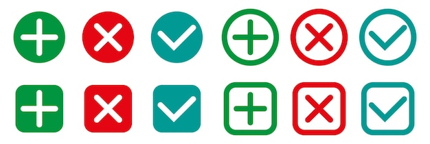 Häkchen und kreuzzeichen gesetzt flaches design häkchen symbole grünes häkchen ok und rotes x