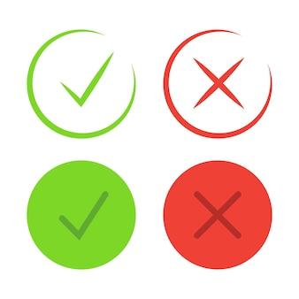 Häkchensymbole. dünne linie. symbole der zustimmung und ablehnung. markieren sie das häkchen in grüner farbe und das ablehnungssymbol in roter farbe. vektor-illustration isoliert auf weißem hintergrund