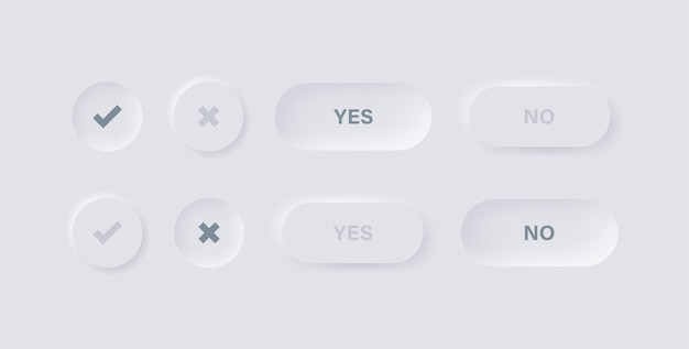 Häkchensymbole in neumorphismus-schaltflächen mit ja nein text für app-ui-ux-schnittstelle in weiß neumorphic