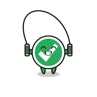 Häkchenzeichen-cartoon mit springseil, süßes design