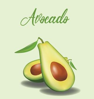 Hälfte der reifen avocado mit dem blatt getrennt.