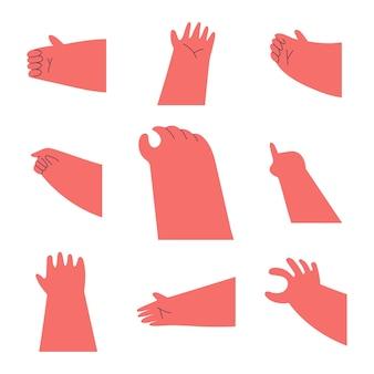 Hände auf einem weißen hintergrund eingestellt.
