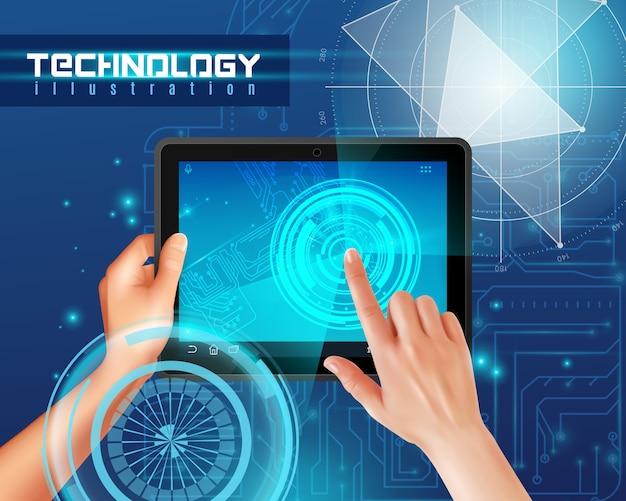 Hände auf realistischem draufsichtbild des tabletten-mit berührungseingabe bildschirms gegen blaue glatte abstrakte digitaltechnik