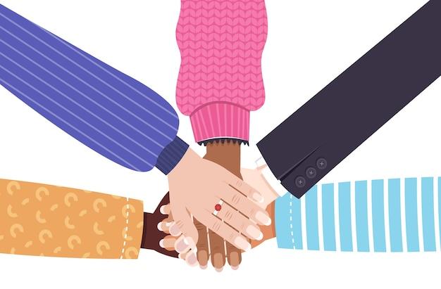 Hände der mischungsrasse gruppe von frauen, die weibliche ermächtigungsbewegung mädchenpowerunion der feministinnen zusammenstellen horizontale vektorillustration zusammenstellen