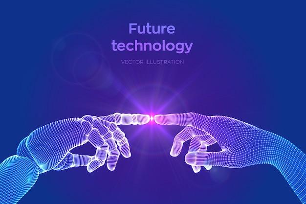 Hände des roboters und der menschlichen berührung. cyborg-finger kurz davor, den menschlichen finger zu berühren. symbol der verbindung zwischen menschen und künstlicher intelligenz.