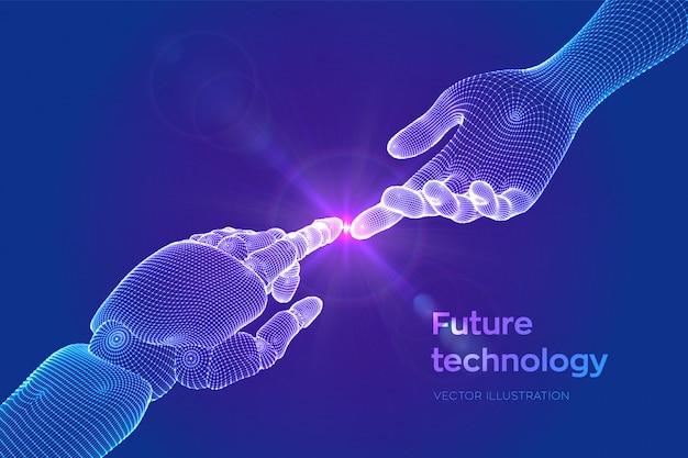 Hände des roboters und des menschlichen berührens.