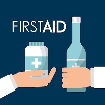 Hände, die alkoholflasche und erste hilfe der medizinpflege halten
