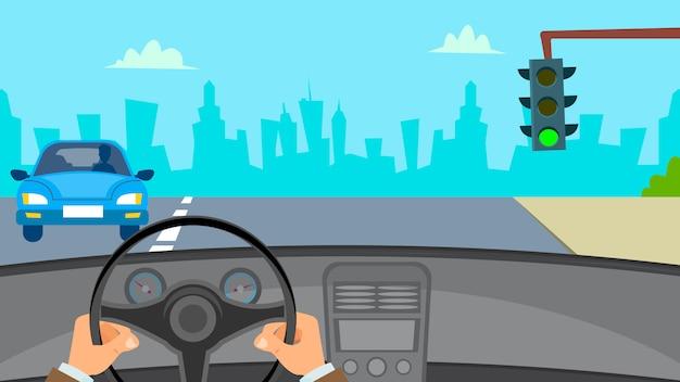Hände, die auto fahren