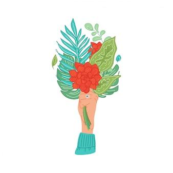 Hände, die blumenstraußsträuße der blühenden blumen, tropische blätter halten. weibliche hand, die blumen hält. florales dekoratives gestaltungselement lokalisiert auf weiß