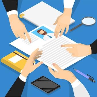 Hände, die das lebenslaufprofil des kandidaten halten. personalmanager macht lebenslaufprüfung. auf der suche nach einem bewerber. idee der rekrutierung. isometrische darstellung