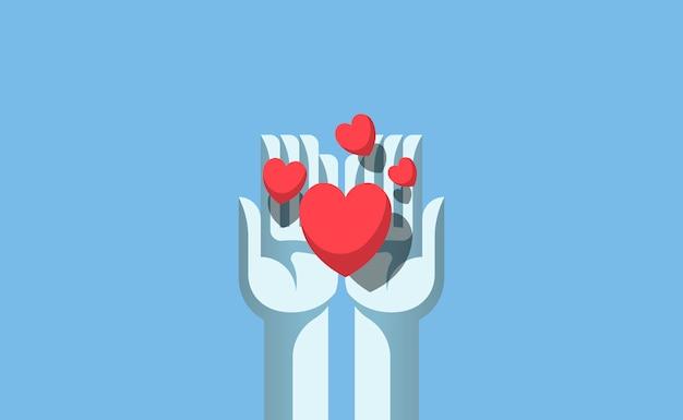 Hände, die die liebesillustration teilen
