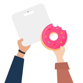 Hände, die donut mit gewichtsskalenillustration zeigen