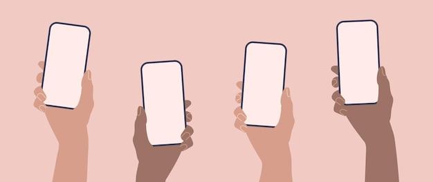 Hände, die flaches smartphone des telefons mit leerer bildschirmschablone halten