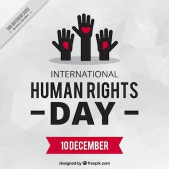 Hände, die für menschenrechte tag angehoben