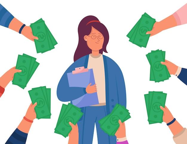 Hände, die geld halten und weiblichen spezialisten anbieten