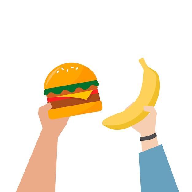 Hände, die gesündere nahrungsmittelabbildung wählen