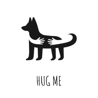 Hände, die hund umarmen flache vektor icon mit hund. umarmen sie mich text. liebestierlogo, ikonendesign. heimtierarzt oder shop-konzept.