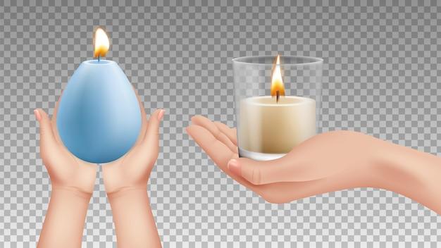 Hände, die kerzen halten realistische lichter, religionssymbole. urlaub dekorative beleuchtung vektorelemente. kerzenlicht in der hand, flamme, die handillustration hält