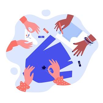 Hände, die kleidung flicken und mit nadel nähen. socke, phantasie, fadenillustration. stick- und handwerkskonzept für banner, website oder landing-webseite