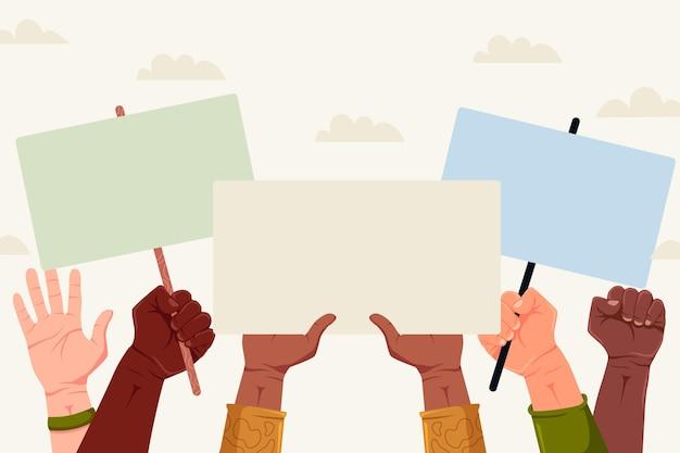 Hände, die kopienraumplakate halten, sind wichtig