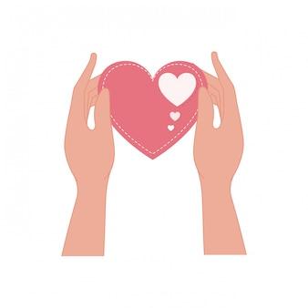 Hände, die lokalisiertes symbol der liebe herz anheben