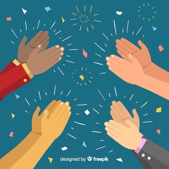 Hände, die mit konfettihintergrund applaudieren