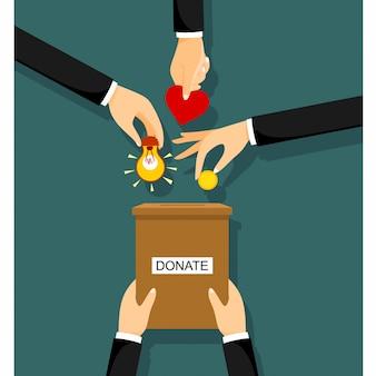 Hände, die münze in einem karton mit textfahne ablegen, spenden