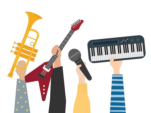 Hände, die musikinstrumentillustration zeigen