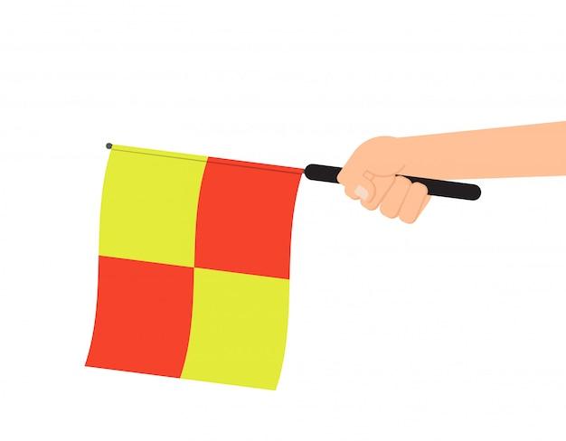 Hände, die schiedsrichterflagge halten