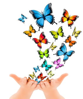 Hände, die schmetterlinge freigeben. vektor-illustration