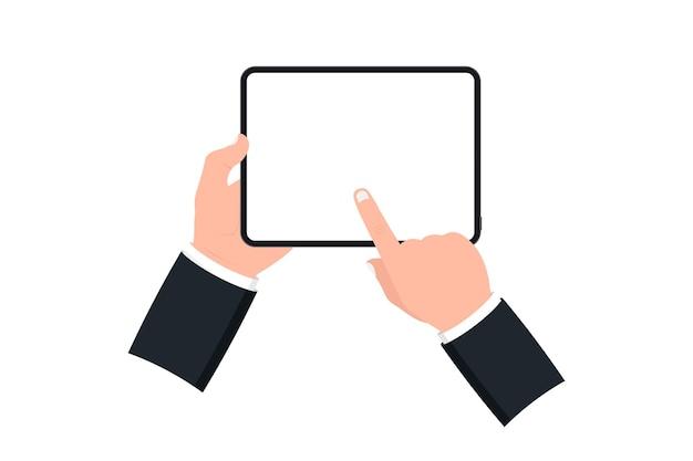 Hände, die schwarze tablette mit leerem bildschirm auf weißem hintergrund halten. menschliche hand mit digitalem tablet und finger-touchscreen. vorlage mockup-tablet-pc mit leerem bildschirm. design für website, mobile app