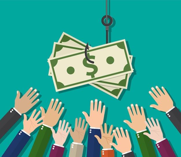 Hände, die sich ausstrecken, um geld am angelhaken zu bekommen