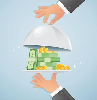 Hände, die silberne glasglocke mit geld halten